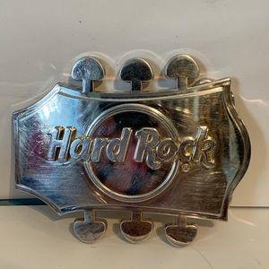 Hard rock metal guitar shaped belt buckle